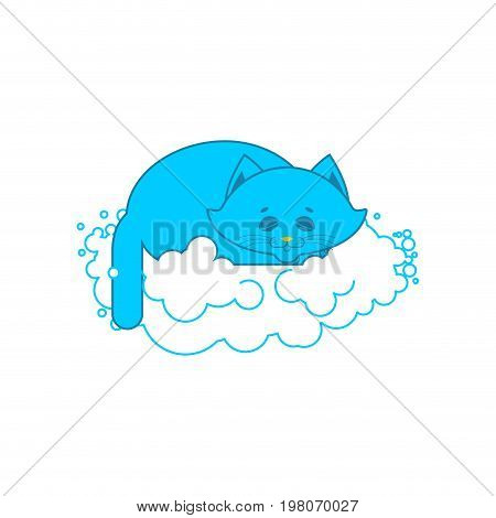 Cat Sleeps On Cloud. Soft Fluffy Pet And Cloud