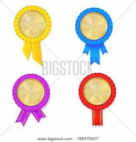Vector Colorfull Award Rosette  Set
