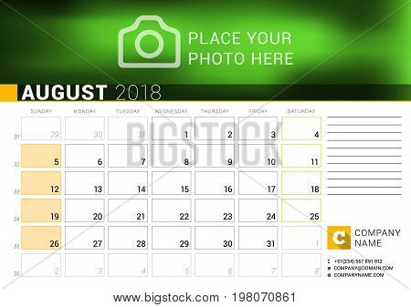 Calendar For August 2018. Vector Design Print Template With Place For Photo, Logo And Contact Inform