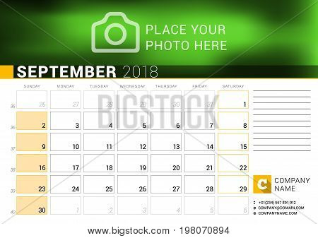 Calendar For September 2018. Vector Design Print Template With Place For Photo, Logo And Contact Inf