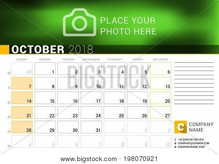 Calendar For October 2018. Vector Design Print Template With Place For Photo, Logo And Contact Infor
