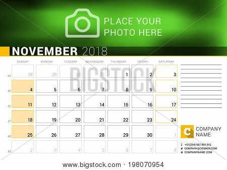 Calendar For November 2018. Vector Design Print Template With Place For Photo, Logo And Contact Info