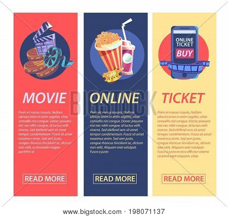Cinematography flat vertical banner with movie time and cinema festival design compositions in retro style. Vector illustration