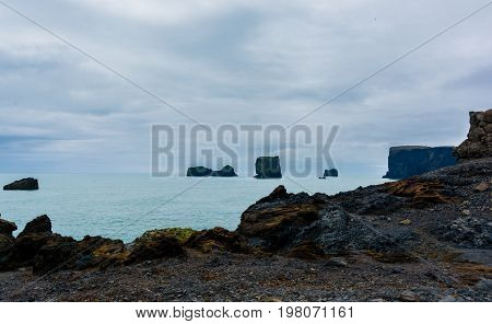 Dyrholaey small peninsula, or promontory located on the south coast near the village Vik in Iceland