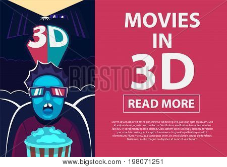 3D symbol with chromatic aberration and three dimensional glasses. 3d experience. Man in 3d glasses, movies cinema.