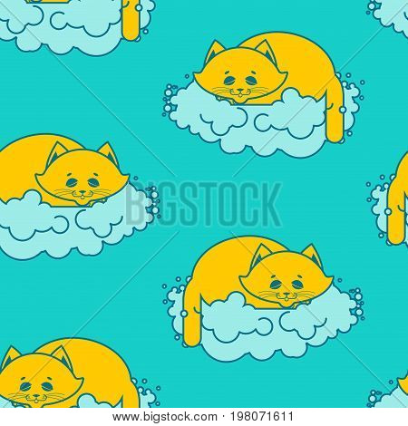 Cat Sleeps On Cloud Pattern. Soft Fluffy Pet And Cloud Seamless Background