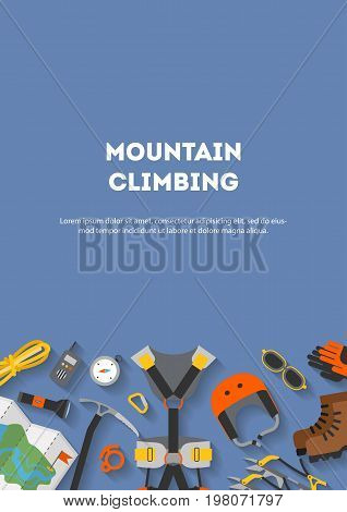 Vertical banner flat design of modern of climbing and equipment for hiking isolated. Outfit for mountaineering and items for traveling and recreation. For web sites, applications and printing, vector
