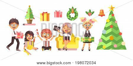 Stock vector illustration isolated cartoon characters children, boys, girls, Christmas tree, happy New Year and Merry Christmas, give gifts, celebrate flat style element motion design white background