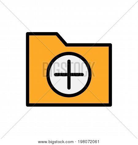 Add folder flat icon. Vector symbol for folder adding