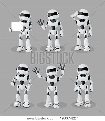 Vector set of funny e robots with two arms and legs, Future, technology, modern. Vector humanoid robot, realistic robots in vector