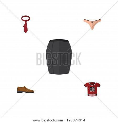 Flat Icon Dress Set Of Cravat, Male Footware, Lingerie And Other Vector Objects