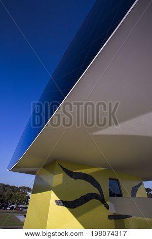 Curitiba Brazil - July 2017: Oscar Niemeyer Museum or MON in Curitiba Parana State Brazil.