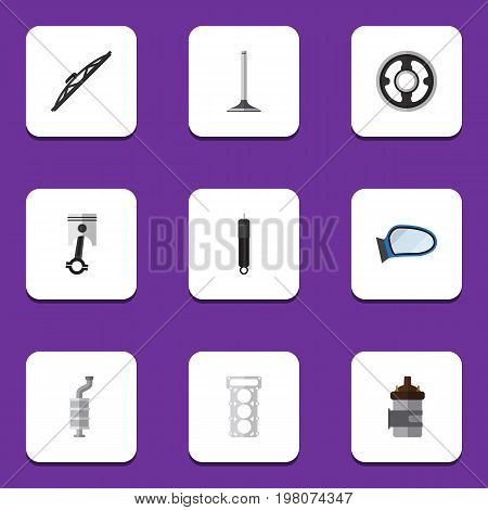 Flat Icon Component Set Of Conrod, Auto Component, Absorber And Other Vector Objects