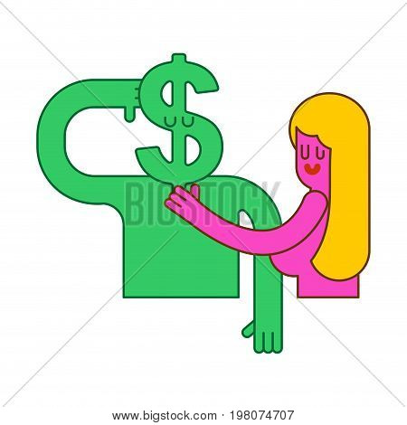Girls In Bed With Dollar. Beautiful Sexy Woman And Cash. Sex For Money. Ladies Love Cash