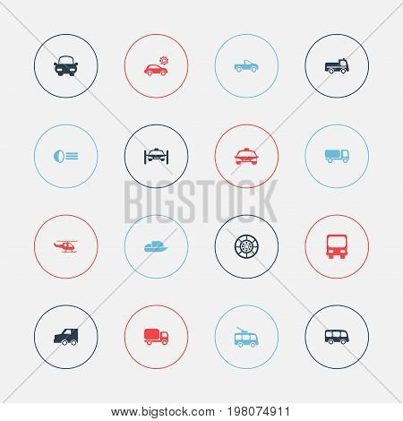 Set Of 16 Editable Transport Icons. Includes Symbols Such As Omnibus, Autobus, Tour Bus And More