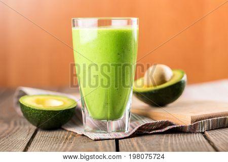 Glass fresh juice avocado halves healthy lifestyle low calorie