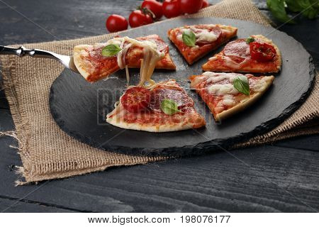 Hot True Pepperoni Italian Pizza With Salami And Cheese. Top View Tasty Traditional Pepperoni Pizza