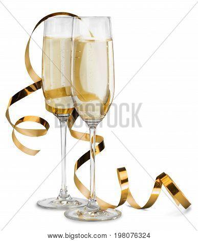 Delicious champagne glasses bar color background festive