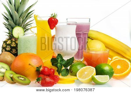 Fresh juice glasses fruits low calories white background