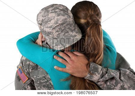 Man woman military hugging human face residential structure armed forces