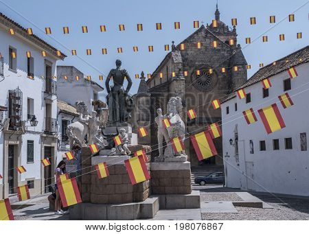 Cordoba, SPAIN - July 9, 2017: Sculptural ensemble dedicated to the bullfighter Manolete, called