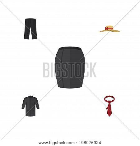 Flat Icon Garment Set Of Pants, Uniform, Elegant Headgear And Other Vector Objects