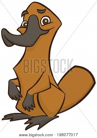 Funny happy cartoon platypus - You can design cards, part of logo, mascot, corporate character and so on. Lively animal character.