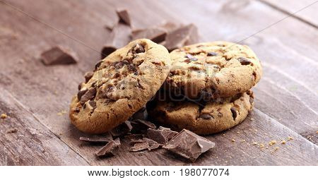 Chocolate Cookies On Wooden Table. Chocolate Chip Cookies Shot