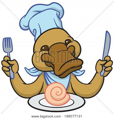 Funny happy cartoon platypus or duckbill with knife and fork
