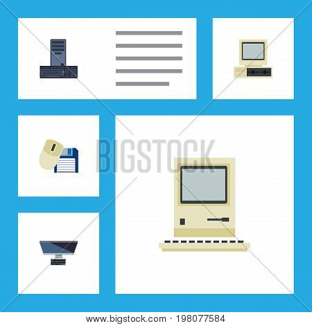 Flat Icon Computer Set Of Computer Mouse, PC, Computing And Other Vector Objects