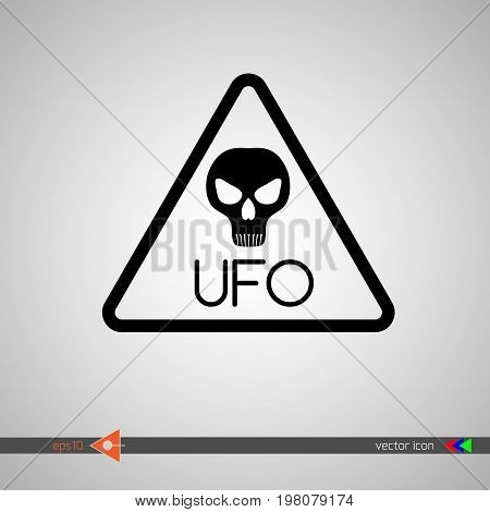 Vector. The Head Of An Alien. The Sign Is A Cautious Visitor. Ufo, X-files