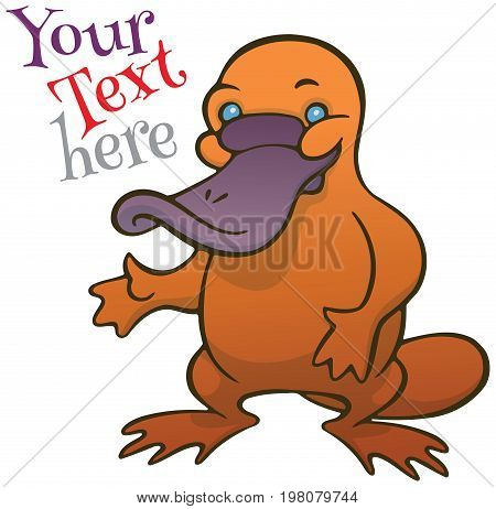 Funny happy cartoon platypus or duckbill vector logo or sign template