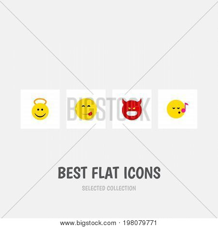 Flat Icon Gesture Set Of Descant, Pouting, Delicious Food And Other Vector Objects