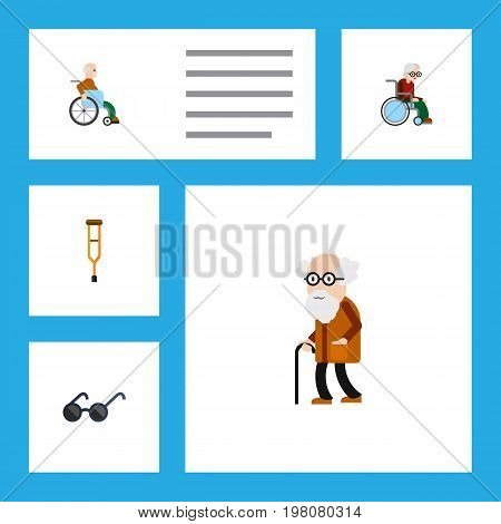 Flat Icon Handicapped Set Of Stand, Ancestor, Handicapped Man Vector Objects