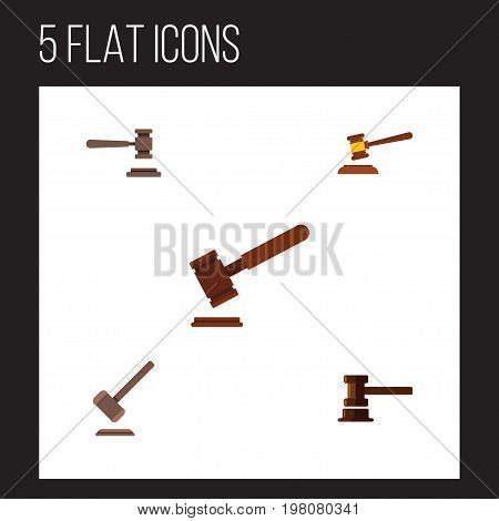 Flat Icon Lawyer Set Of Tribunal, Justice, Hammer And Other Vector Objects