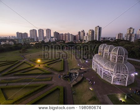Aerial View Botanical Garden, Curitiba, Brazil. July, 2017.