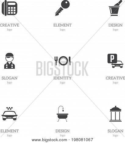 Set Of 9 Editable Motel Icons. Includes Symbols Such As Champagne, Entrance, Shower And More