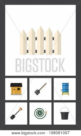 Flat Icon Garden Set Of Spade, Hosepipe, Wooden Barrier And Other Vector Objects