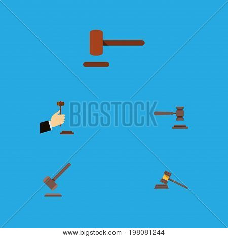 Flat Icon Hammer Set Of Tribunal, Legal, Defense And Other Vector Objects