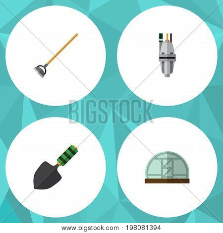 Flat Icon Dacha Set Of Tool, Hothouse, Trowel And Other Vector Objects