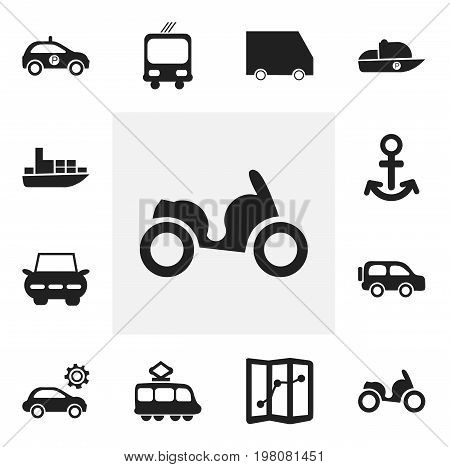 Set Of 12 Editable Shipment Icons. Includes Symbols Such As Sheriff, City Drive, Streetcar And More