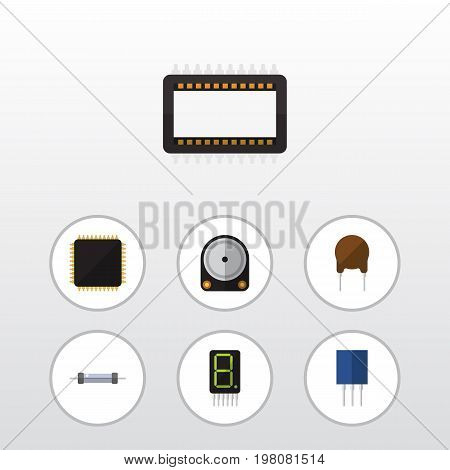 Flat Icon Electronics Set Of Hdd, Mainframe, Display And Other Vector Objects