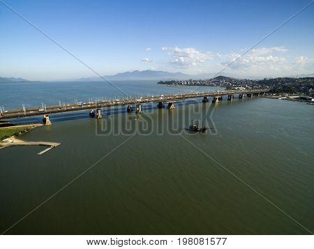 Aerial view Pedro Ivo Campos Bridge in Florianopolis. Santa Catarina. July 2017. poster