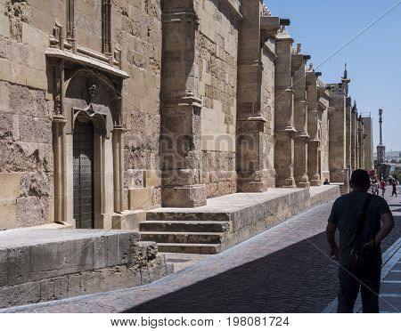 Cordoba, SPAIN - July 9, 2017: Exterior of the cathedral, detail of one of the 4 doors called