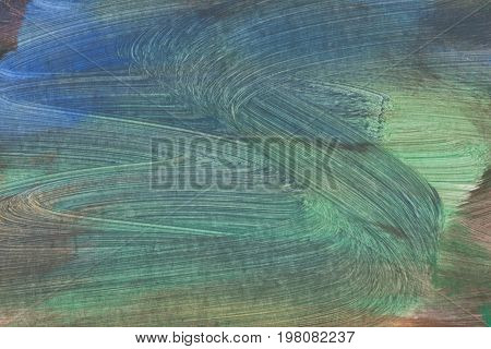 Abstract acrylic hand painted background on canvas green color