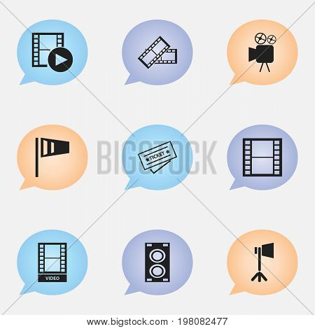 Set Of 9 Editable Filming Icons. Includes Symbols Such As Filmstrip, Movie, Movie Reel And More