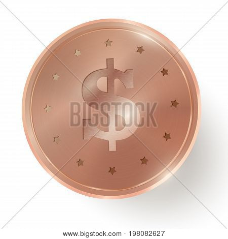 Copper coin on white  background. Vector design