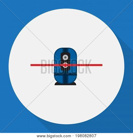 Vector Illustration Of Electric Symbol On Laser Surveyor Flat Icon