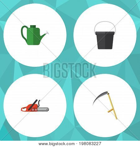 Flat Icon Farm Set Of Cutter, Pail, Bailer And Other Vector Objects