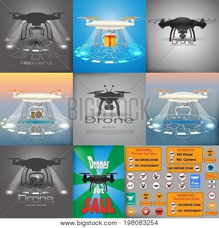 Big vector set of  drone  illustrations. Drone logo.  Drone delivery concept.  Warning sing. Flyer in retro style. Eps10 vector design